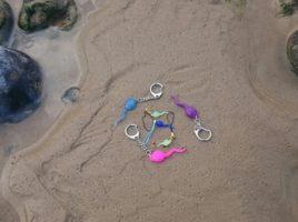 keyrings, phone charms, sperm, beach